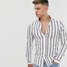ASOS メンズ トップス 長袖 スキニーストライプシャツホワイト シャツ ブラウス 20代 30代 40代 ファッション コーディネート小さいサイズから大きいサイズまで オシャレ トレンド Tシャツ インポート トレンド 京都のセレクトショップdivacloset