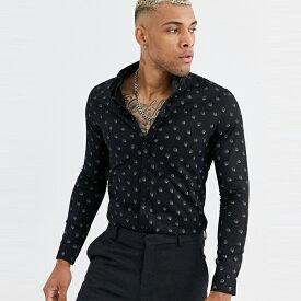 asos ASOS エイソス メンズ ASOS DESIGN スキニー スカル プリント Tシャツ 大きいサイズ インポート エクストリームスーパースキニーフィット スウェットパンツ ジーンズ ジーパン 20代 30代 40代 ファッション コーディネート