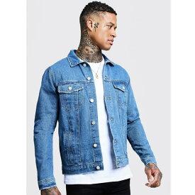 boohoo(ブーフー)メンズ オフィシャル ウエスタン デニム ジャケット 長袖 大きいサイズあり 流行 最新 メンズカジュアル ファッション アウター