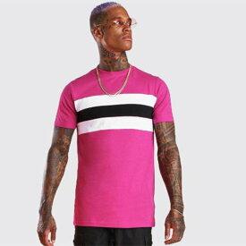 boohoo(ブーフー)メンズ MAN ロゴ カラーブロック プリント Tシャツ トップス 半袖 大きいサイズあり 流行 最新 メンズカジュアル ファッション フィットネス ジム