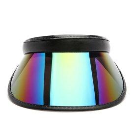 LA発!FASHION NOVA (ファッションノバ) インポートブランド ホログラム プラスチック サンバイザー ブラック 帽子 日本未入荷 流行 最新 メンズカジュアル フェス ファッション レディース トレンド