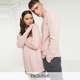 ASOSセレクト COLLUSION asos ASOS エイソス メンズ COLLUSION Unisex 淡いピンク ロングスリーブ Tシャツ 大きいサイズ インポート エクストリームスーパースキニーフィット スウェットパンツ ジーンズ ジーパン 20代 30代 40代 ファッション コーディネート