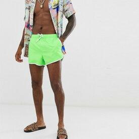 メンズ ASOS メンズ スイムショーツ 水着 ショート パンツ ネオングリーン スイムショーツ 水着 ショートパンツ ボトム トレンド 大きいサイズ インポート カジュアル 20代 30代 40代 50代 お洒落 ファッション コーデ ビーチ 海 フェス