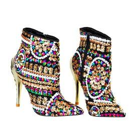 DIVAセレクト ブーツ アンクルブーツ ショートブーツ ブーティー スパンコール 女性 レディース ファッション ピンヒールブーツ 大きいサイズ ハイヒール 歩きやすい ブーツ