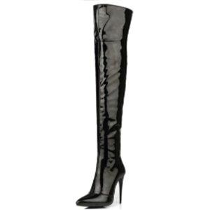 ロングブーツ 膝上 ブーツ バーレスク ハイヒール ブーツ エナメル ロング ブーツ 女性 レディース ファッション ニーハイブーツ ニーハイ 大きいサイズ 靴 シューズ ハイヒール ブーツ パテ