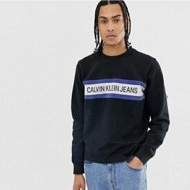 Calvin Klein カルバンクライン Calvin Klein Jeans インスティテューショナルストライプ ロゴ スウェットシャツ トレンド インポート 大きいサイズあり 流行 最新 メンズカジュアル カルバンクライン 小さいサイズあり