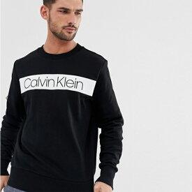 Calvin Klein カルバンクライン ストライプロゴ スウェットシャツ ブラック トレンド インポート 大きいサイズあり 流行 最新 メンズカジュアル 小さいサイズあり
