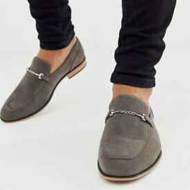 ASOS エイソス asos Selected Homme ローファー グレー フェイクスエード スナッフルディテール ブラックソール メンズ 靴 20代 30代 40代 ファッション コーディネート アウトフィット アウトドアー オシャレ 大人 カジュアル 小さいサイズあり