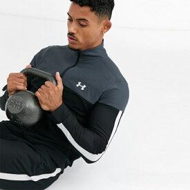 アンダーアーマー Under Armour インポートブランド ロゴジッパー スルートップ ブラック 日本未入荷 大きいサイズあり 流行 最新 メンズカジュアル ファッション フィットネス