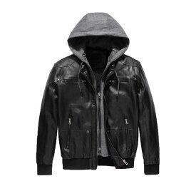 フード付き レザージャケット フェイクレザー puレザー メンズ アウター ジャケット フード取り外し可能 バイカージャケット 長袖 スリムフィット 大きいサイズ 20代 30代 40代 カジュアル コーデ ファッション トレンド ブラック 黒 S-XXL