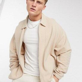 エイソス ASOS asos ASOSDESIGNのリブ編み生地の特大ハリントンジャージージャケット アウター メンズ 男性 インポートブランド 小さいサイズから大きいサイズまで
