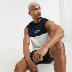 ASOS DESIGN オーガニック コットン カラーブロック ディテール テキストプリント リラックス ノースリーブ Tシャツ コーディネート 20代 30代 40代 ファッション コーディネート