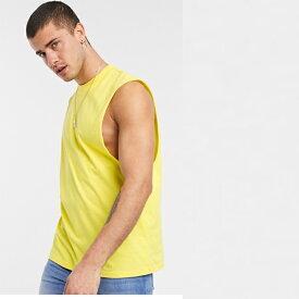 ASOS DESIGN 黄色 ドロップアーム ホール付き オーガニック リラックス ノースリーブ Tシャツ コーディネート 20代 30代 40代 ファッション コーディネート