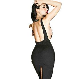 バックオープン/バックスリット/タイトライン/ブラック/ミディアムタイトワンピース/大きいサイズ/XS/S/M/Lパーティードレス 30代 結婚式 ドレス ワンピース お呼ばれ 大人 二次会 ミディアムドレス セレクトショップdivacloset