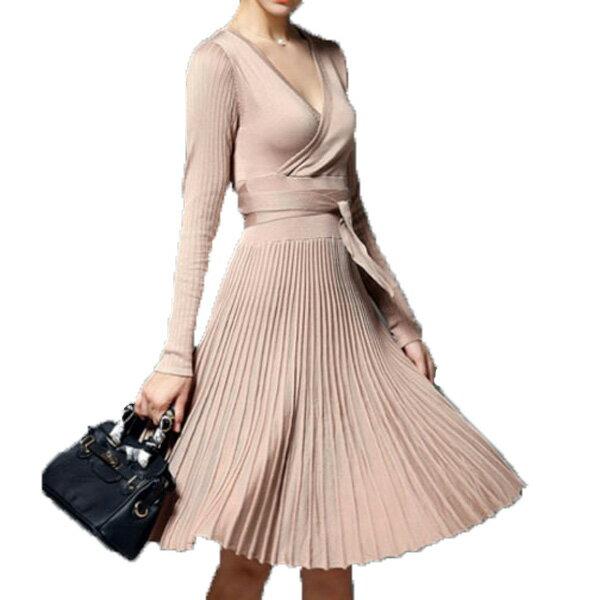 ミディアムドレス ニットワンピース ウェストリボン ワンピース プリーツスカート ドレス ストレッチ素材 Vネック 大きいサイズ 20代 30代 S M L XL 袖付き 長袖 ブラック ベージュ レッド フレアワンピース ニットドレス カシュクール
