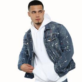 LA発!FASHION NOVA(ファッションノバ) インポートブランド メンズ ペイント デニム jacket デニムジャケット 日本未入荷 大きいサイズあり 流行 最新 メンズカジュアル edm フェス ファッション ブルー