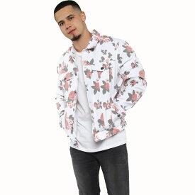 LA発!FASHION NOVA(ファッションノバ) インポートブランド メンズ 花柄 フローラル デニム jacket デニムジャケット 日本未入荷 大きいサイズあり 流行 最新 メンズカジュアル edm フェス ファッション ホワイト