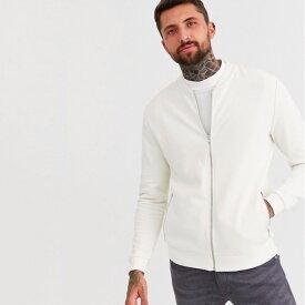 ASOS エイソス asos メンズ ボンバージャケット ジャージー ジャケット アウター ジップポケット ホワイトジャケット 20代 30代 40代 ファッション コーディネート小さいサイズから大きいサイズまで オシャレ トレンド インポート トレンド