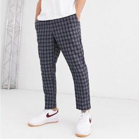 ASOSセレクト New Look asos メンズ ボトム ズボン パンツ テーパードフィット テーパードパンツ クロップパンツ チェック スリムフィット 大きいサイズ インポート 20代 30代 40代 ファッション コーディネート 小さいサイズあり