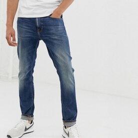 ASOSセレクト Nudie Jeans Co メンズ スリムジーンズ スリム テーパードフィット スリムフィット インディゴシェードウォッシュ ストレッチデニム デニム ジーンズ ボトム asos エイソス 大きいサイズ インポート カジュアル アウトフィット フェス