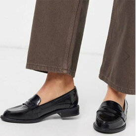 ASOS DESIGN メール ローファー フラット シューズ ブラック レディース 女性 20代 30代 40代 diva 大きいサイズあり 小さいサイズあり 高身長