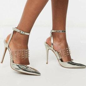 ASOS DESIGN パンク スタッド スティレット ヒール ゴールド クリア レディース 女性 20代 30代 40代 diva 大きいサイズあり 小さいサイズあり 高身長