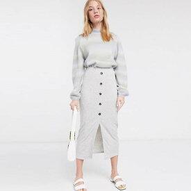 ASOS DESIGN リブ ミディ スカート ホーンボタン グレー レディース 女性 20代 30代 40代 diva 大きいサイズあり 小さいサイズあり