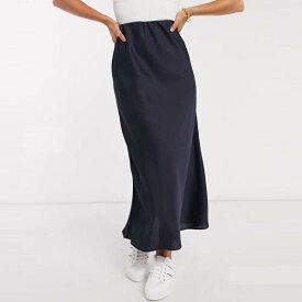 ASOS DESIGN バイアス カット サテン スリップ ミディ スカート(ネイビー) レディース 女性 20代 30代 40代 diva 大きいサイズあり 小さいサイズあり