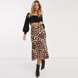 ASOS DESIGN ヒョウ柄 サテン バイアス ミディ スカート レディース 女性 20代 30代 40代 diva 大きいサイズあり 小さいサイズあり