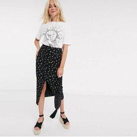 ASOS DESIGN リブ ポッパー ミディ スカート レディース 女性 20代 30代 40代 diva 大きいサイズあり 小さいサイズあり