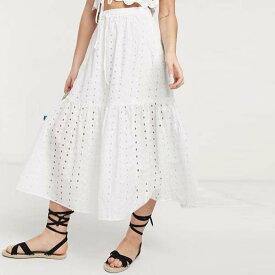 ASOS DESIGN ティアード ブロデリー ミディ スカート(ホワイト) レディース 女性 20代 30代 40代 diva 大きいサイズあり 小さいサイズあり