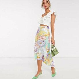 ASOS DESIGN 70年代 花柄 プリント サテン バイアス フルート付き ミディ スカート レディース 女性 20代 30代 40代 diva 大きいサイズあり 小さいサイズあり