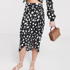 ASOS DESIGN ラップ ミディ スカート ブラック モノ ヒョウ プリント コーディ レディース 女性 20代 30代 40代 diva 大きいサイズあり 小さいサイズあり