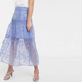 ASOS DESIGN 刺繍 ミディ スカート ベルト ディテール ブルー レディース 女性 20代 30代 40代 diva 大きいサイズあり 小さいサイズあり