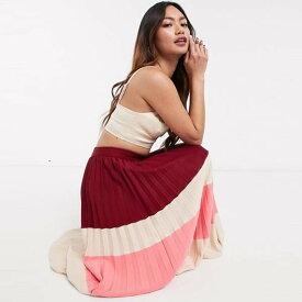 ASOS DESIGN プリーツ カラー ブロック ミディ スカート レディース 女性 20代 30代 40代 diva 大きいサイズあり 小さいサイズあり