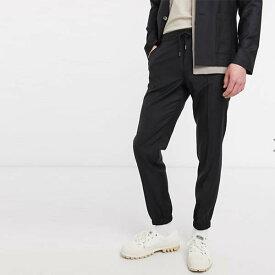 ASOS DESIGN ブラック 100%ウール スリム ソフト テーラード スマート ジョガー メンズ 男性 小さいサイズから大きいサイズまで 20代 30代 40代 ファッション コーディネート