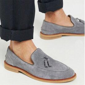 ASOS DESIGN ローファー グレー スエード ナチュラル ソール タッセル 靴 小さいサイズから大きいサイズあり 30代 40代 20代 高身長 春夏秋冬