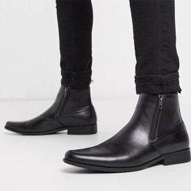 ASOS DESIGN チェルシー ブーツ ジッパー付き ブラック フェイク レザー 靴 メンズ 男性 小さいサイズから大きいサイズまで 20代 30代 40代 ファッション コーディネート