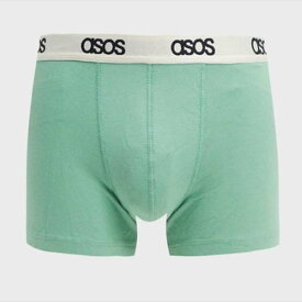 ASOS DESIGN トランク(ライトグリーン ピケ ファブリック ストーンブランド ウエストバンド) メンズ 男性 20代 30代 40代 ファッション コーディネート