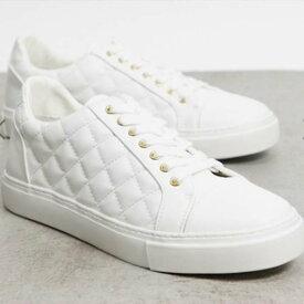 ASOS DESIGN トレーナー キルティング ホワイト 靴 メンズ インポート 大きいサイズあり 流行 最新 メンズカジュアル