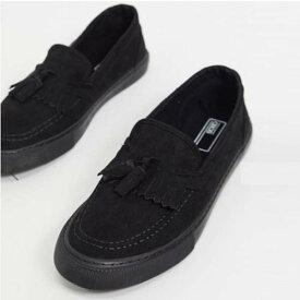 ASOS DESIGN プリムソール ブラック フェイク スエード タッセル付き スニーカー 靴 メンズ 男性 20代 30代 40代 ファッション コーディネート