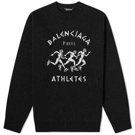 バレンシアガ BALENCIAGA マラソン インターシャ ニット メンズ トップス プルオーバー メンズ 長袖 ロングスリーブ フェス トレンド インポート 大きいサイズあり 流行 最新 メンズカジュアル