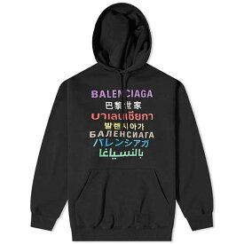 BALENCIAGA バレンシアガ クルー ロゴ 言語 オーバー フーディー パーカー メンズ 長袖 トレンド インポートブランド 大きいサイズあり 流行 最新 メンズカジュアル