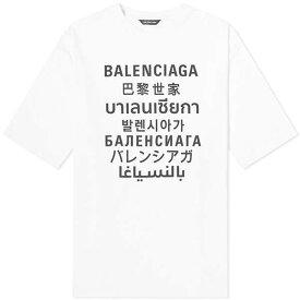 BALENCIAGA バレンシアガ XL フィット ランゲージ ティー Tシャツ ロゴ 半袖 メンズ コットン トップス メンズ フェス トレンド インポート 大きいサイズあり 流行 最新 メンズカジュアル