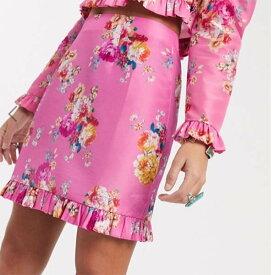 ASOS DESIGN ミニスカート ピンク 花柄 プリント コーディネート レディース 女性 20代 30代 40代 インポート ブランド