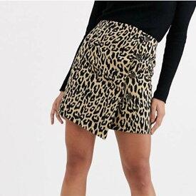 ASOS DESIGN ミニ ラップ スカート(ボタンディテール付きヒョウ柄) レディース 女性 20代 30代 40代 インポート ブランド