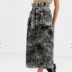 ASOS DESIGN ウォッシュ ミディ スカート(dリングとポケット付き) レディース 女性 20代 30代 40代 インポート ブランド