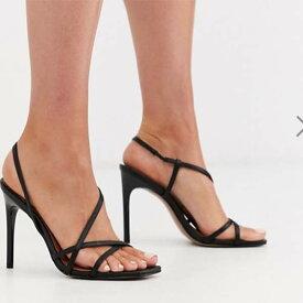 ASOS DESIGN ブラック ノートリアス ストラップ ヒール サンダル ファッション 大人可愛い フェス 20代 30代 40代 diva 大きいサイズあり 小さいサイズあり 高身長