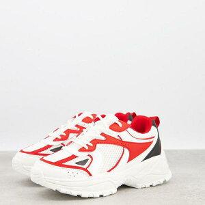 エイソス ASOS asos ASOSDESIGN白と赤のメッシュのDorriトレーナー 靴 レディース 女性 インポートブランド 小さいサイズから大きいサイズまで