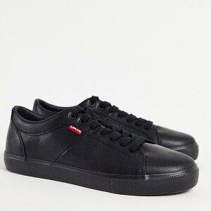 リーバイス Levi's 小さなロゴが入った黒のリーバイスウッドワードフェイクレザートレーナー 靴 メンズ 男性 インポートブランド